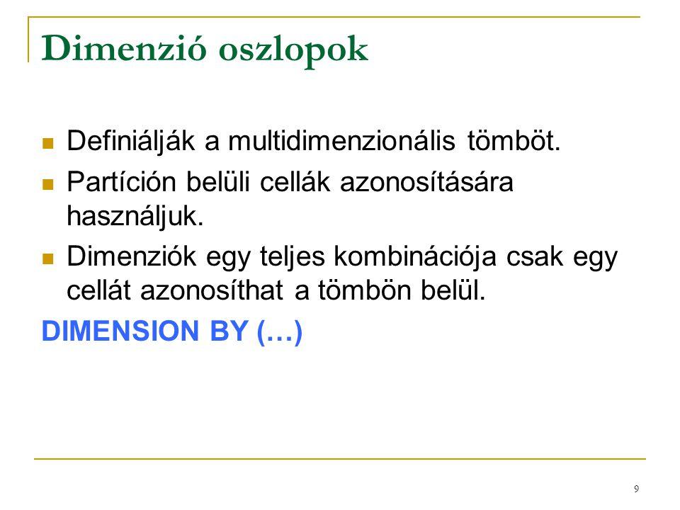 9 Dimenzió oszlopok  Definiálják a multidimenzionális tömböt.  Partíción belüli cellák azonosítására használjuk.  Dimenziók egy teljes kombinációja