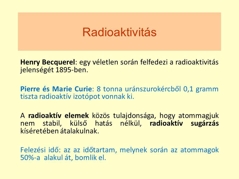 Radioaktivitás Henry Becquerel: egy véletlen során felfedezi a radioaktivitás jelenségét 1895-ben. Pierre és Marie Curie: 8 tonna uránszurokércből 0,1
