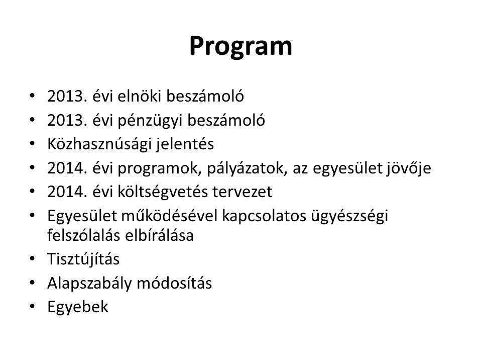 Program • 2013.évi elnöki beszámoló • 2013.