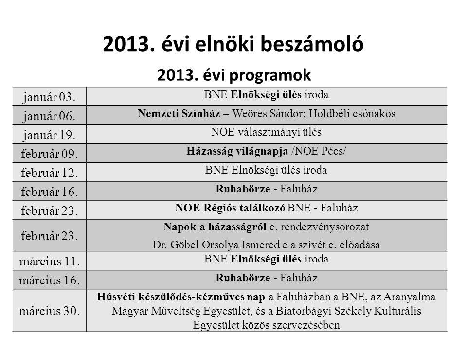 2013.évi elnöki beszámoló 2013. évi programok január 03.