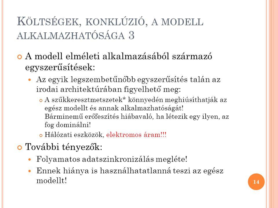 K ÖLTSÉGEK, KONKLÚZIÓ, A MODELL ALKALMAZHATÓSÁGA 3 A modell elméleti alkalmazásából származó egyszerűsítések:  Az egyik legszembetűnőbb egyszerűsítés