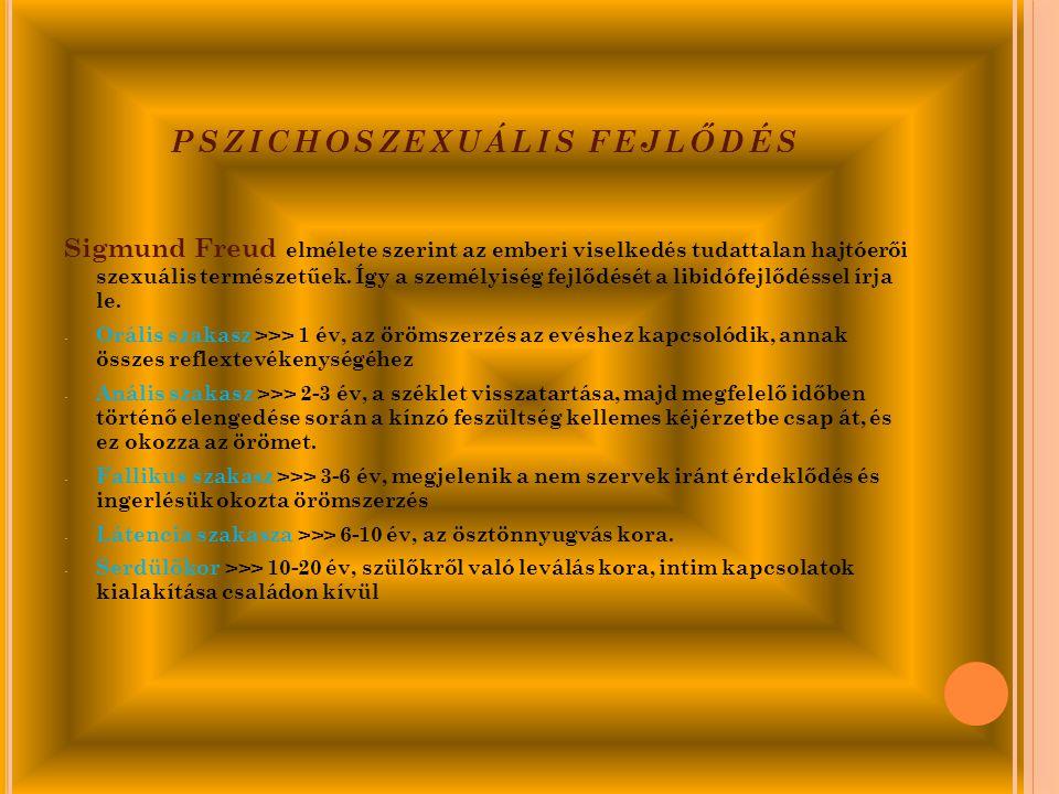 PSZICHOSZEXUÁLIS FEJLŐDÉS Sigmund Freud elmélete szerint az emberi viselkedés tudattalan hajtóerői szexuális természetűek.