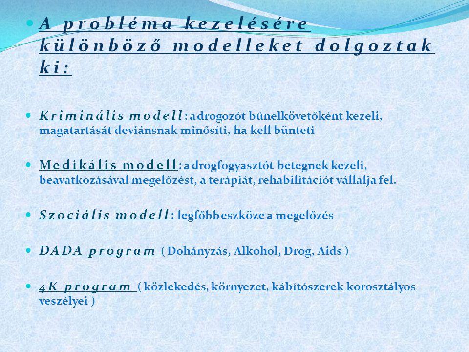  A probléma kezelésére különböző modelleket dolgoztak ki:  Kriminális modell :a drogozót bűnelkövetőként kezeli, magatartását deviánsnak minősíti, ha kell bünteti  Medikális modell :a drogfogyasztót betegnek kezeli, beavatkozásával megelőzést, a terápiát, rehabilitációt vállalja fel.