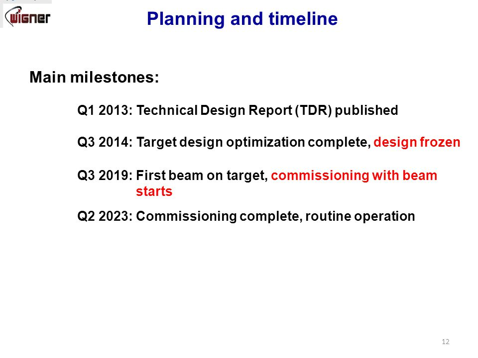 Main milestones: Q1 2013: Technical Design Report (TDR) published Q3 2014: Target design optimization complete, design frozen Q3 2019: First beam on target, commissioning with beam starts Q2 2023: Commissioning complete, routine operation Planning and timeline 12
