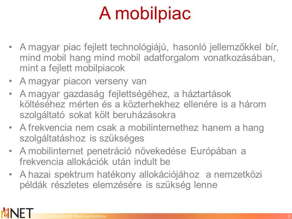 A mobilpiac •A magyar piac fejlett technológiájú, hasonló jellemzőkkel bír, mind mobil hang mind mobil adatforgalom vonatkozásában, mint a fejlett mobilpiacok •A magyar piacon verseny van •A magyar gazdaság fejlettségéhez, a háztartások költéséhez mérten és a közterhekhez ellenére is a három szolgáltató sokat költ beruházásokra •A frekvencia nem csak a mobilinternethez hanem a hang szolgáltatáshoz is szükséges •A mobilinternet penetráció növekedése Európában a frekvencia allokációk után indult be •A hazai spektrum hatékony allokációjához a nemzetközi példák részletes elemzésére is szükség lenne 2