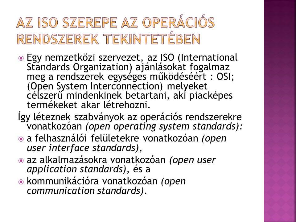  Egy nemzetközi szervezet, az ISO (International Standards Organization) ajánlásokat fogalmaz meg a rendszerek egységes működéséért : OSI; (Open Syst