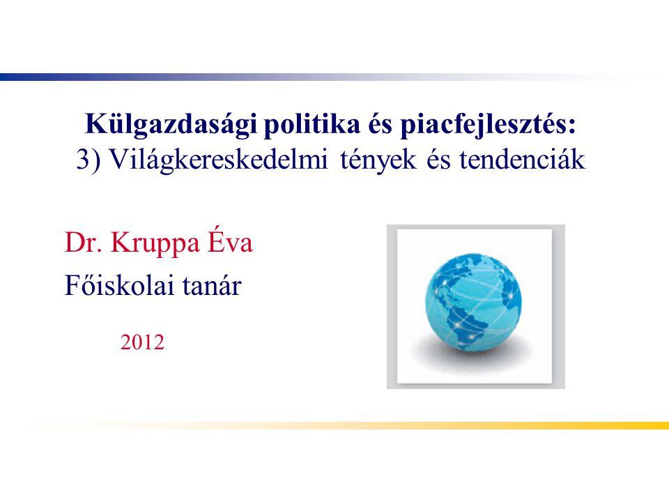 Külgazdasági politika és piacfejlesztés: 3) Világkereskedelmi tények és tendenciák Dr. Kruppa Éva Főiskolai tanár 2012