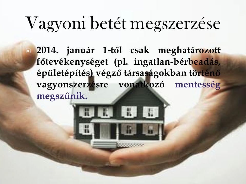  2014. január 1-től csak meghatározott főtevékenységet (pl. ingatlan-bérbeadás, épületépítés) végző társaságokban történő vagyonszerzésre vonatkozó m