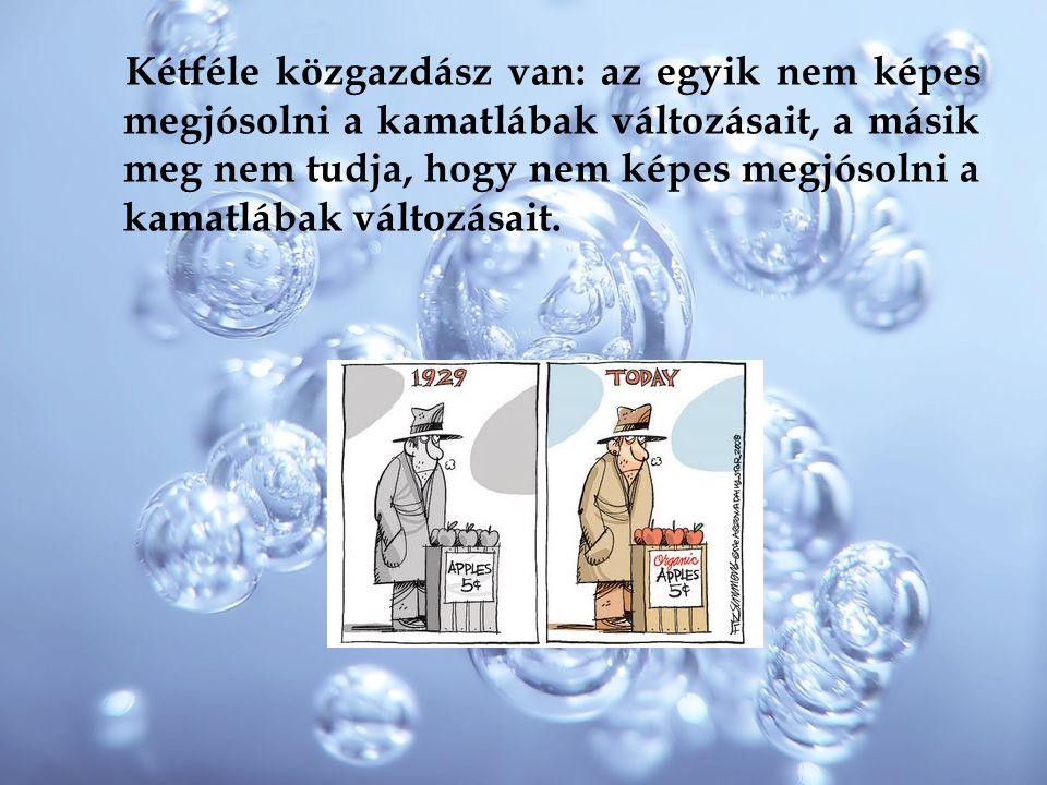 Kétféle közgazdász van: az egyik nem képes megjósolni a kamatlábak változásait, a másik meg nem tudja, hogy nem képes megjósolni a kamatlábak változás