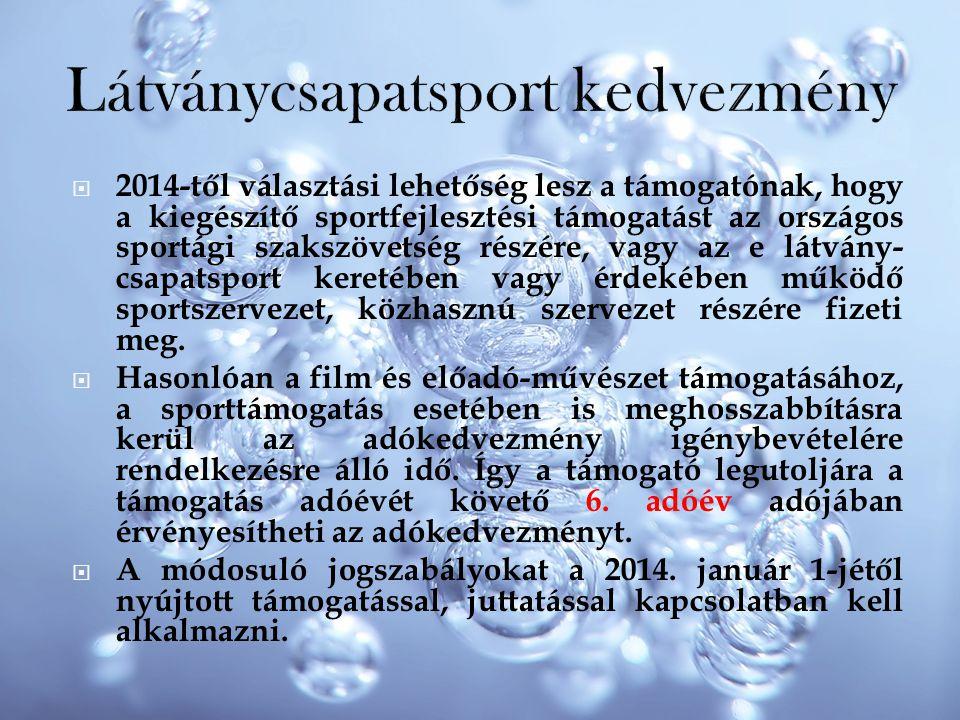  2014-től választási lehetőség lesz a támogatónak, hogy a kiegészítő sportfejlesztési támogatást az országos sportági szakszövetség részére, vagy az