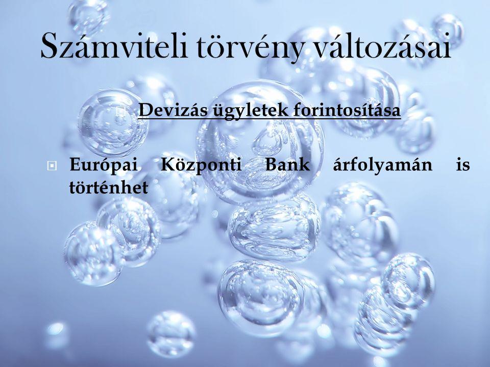  Devizás ügyletek forintosítása  Európai Központi Bank árfolyamán is történhet