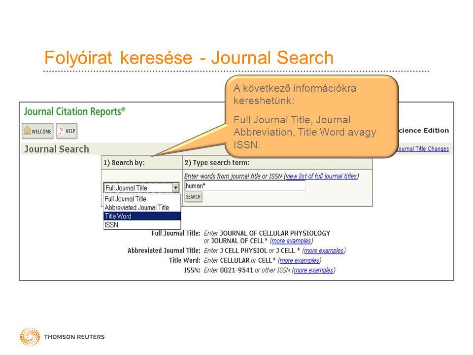 Folyóirat keresése - Journal Search A következő információkra kereshetünk: Full Journal Title, Journal Abbreviation, Title Word avagy ISSN.