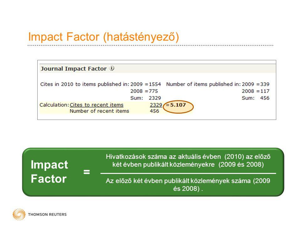 Impact Factor (hatástényező) Hivatkozások száma az aktuális évben (2010) az előző két évben publikált közleményekre (2009 és 2008) Az előző két évben