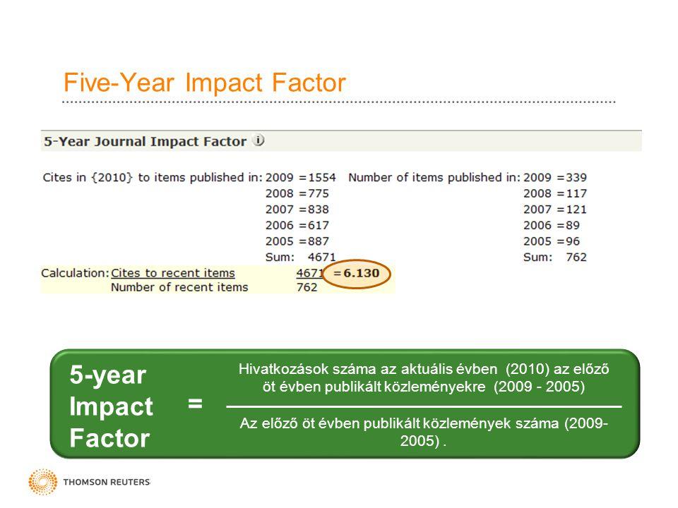 Five-Year Impact Factor Hivatkozások száma az aktuális évben (2010) az előző öt évben publikált közleményekre (2009 - 2005) Az előző öt évben publikál