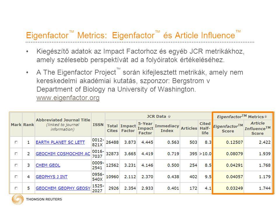 Eigenfactor ™ Metrics: Eigenfactor ™ és Article Influence ™ •Kiegészítő adatok az Impact Factorhoz és egyéb JCR metrikákhoz, amely szélesebb perspektívát ad a folyóiratok értékeléséhez.