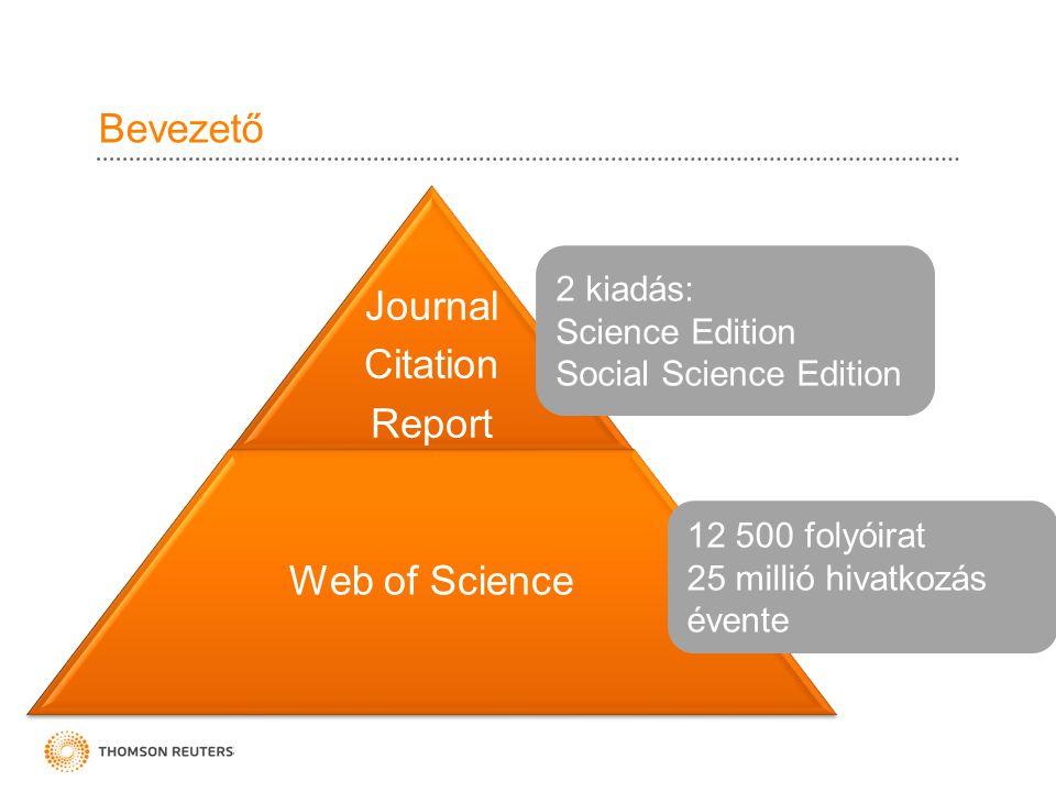 Bevezető Journal Citation Report Web of Science 12 500 folyóirat 25 millió hivatkozás évente 2 kiadás: Science Edition Social Science Edition