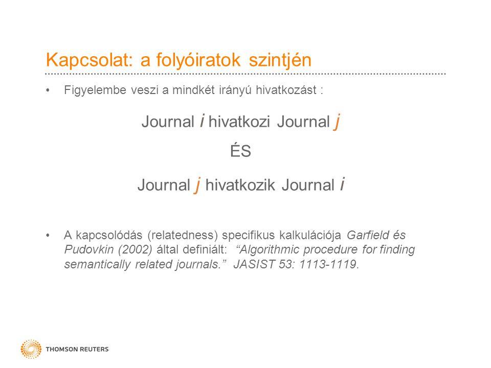 Kapcsolat: a folyóiratok szintjén •Figyelembe veszi a mindkét irányú hivatkozást : Journal i hivatkozi Journal j ÉS Journal j hivatkozik Journal i •A kapcsolódás (relatedness) specifikus kalkulációja Garfield és Pudovkin (2002) által definiált: Algorithmic procedure for finding semantically related journals. JASIST 53: 1113-1119.