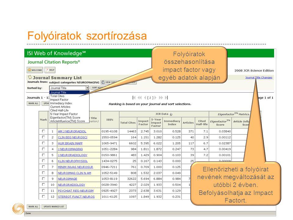 Folyóiratok szortírozása Folyóiratok összehasonlítása impact factor vagy egyéb adatok alapján Ellenőrizheti a folyóirat nevének megváltozását az utóbb