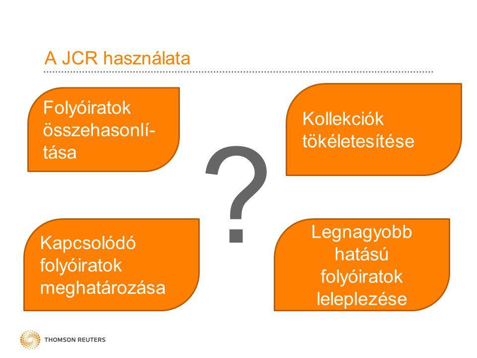 A JCR használata ? Legnagyobb hatású folyóiratok leleplezése Kollekciók tökéletesítése Folyóiratok összehasonlí- tása Kapcsolódó folyóiratok meghatáro