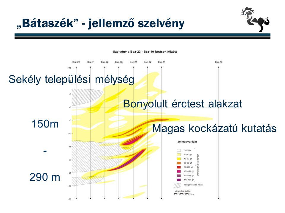 """""""Bátaszék"""" - jellemző szelvény Sekély települési mélység Magas kockázatú kutatás Bonyolult érctest alakzat 150m - 290 m"""