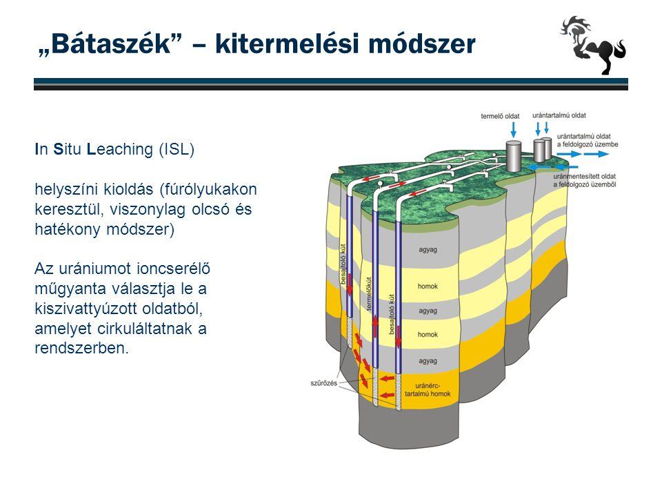 """""""Bátaszék"""" – kitermelési módszer In Situ Leaching (ISL) helyszíni kioldás (fúrólyukakon keresztül, viszonylag olcsó és hatékony módszer) Az urániumot"""