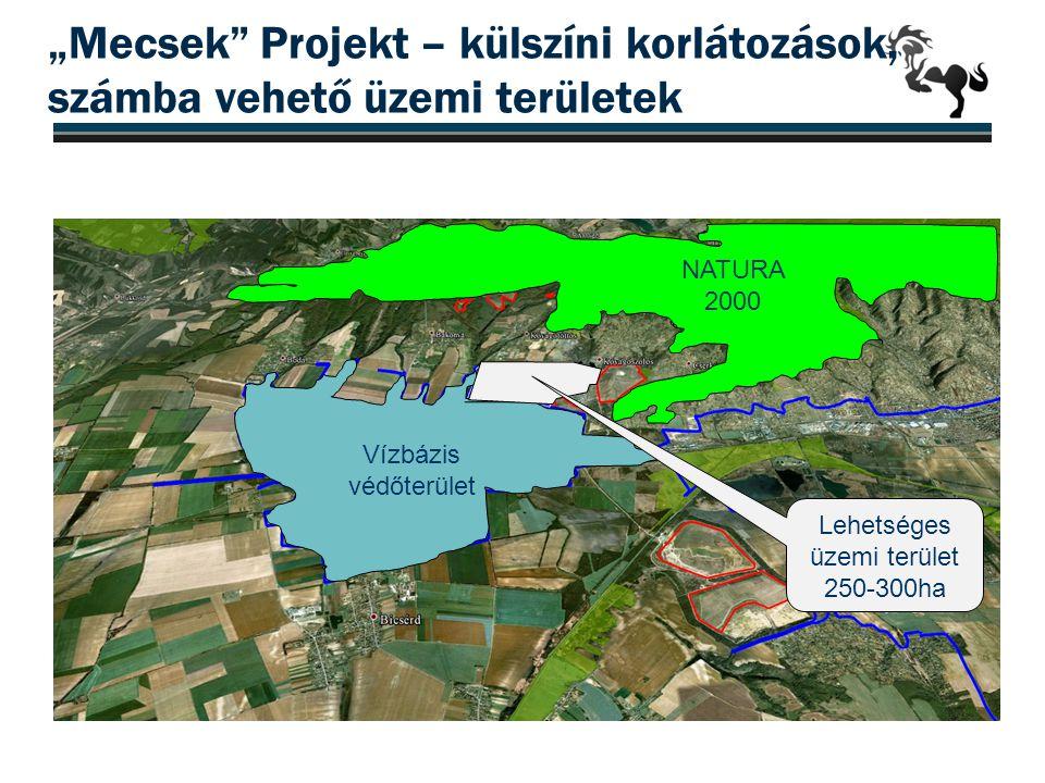 """""""Mecsek"""" Projekt – külszíni korlátozások, számba vehető üzemi területek 18 Vízbázis védőterület NATURA 2000 Lehetséges üzemi terület 250-300ha"""