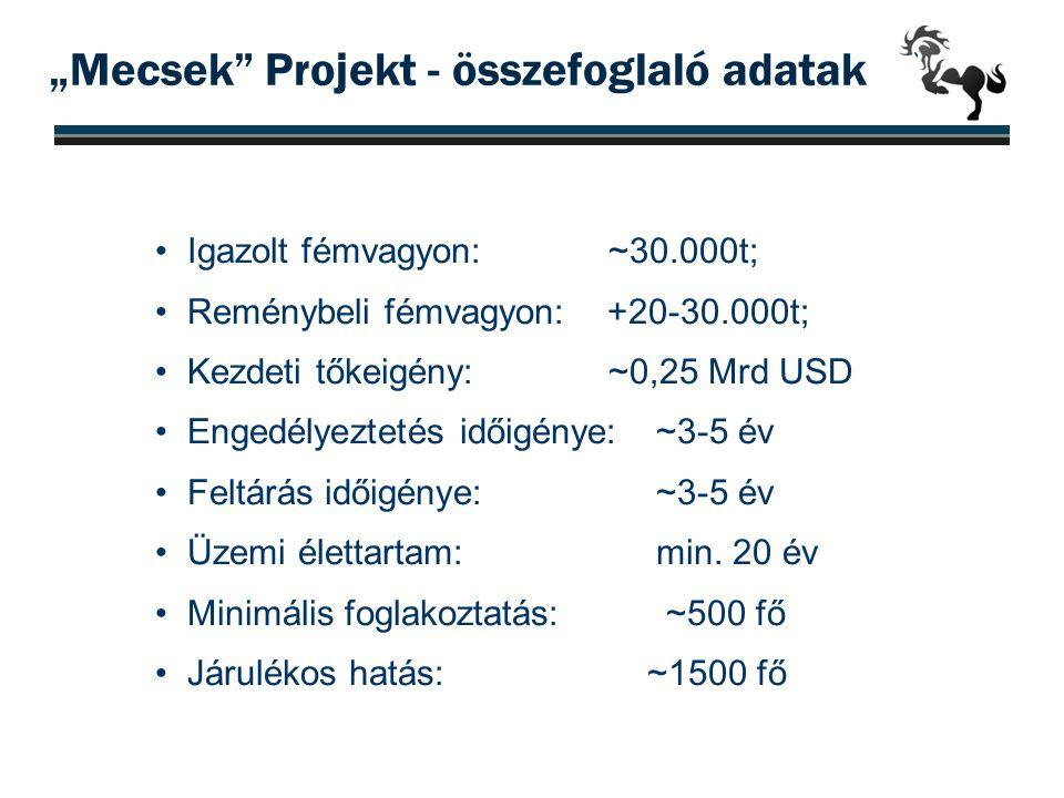 """""""Mecsek"""" Projekt - összefoglaló adatak •Igazolt fémvagyon: ~30.000t; •Reménybeli fémvagyon: +20-30.000t; •Kezdeti tőkeigény: ~0,25 Mrd USD •Engedélyez"""