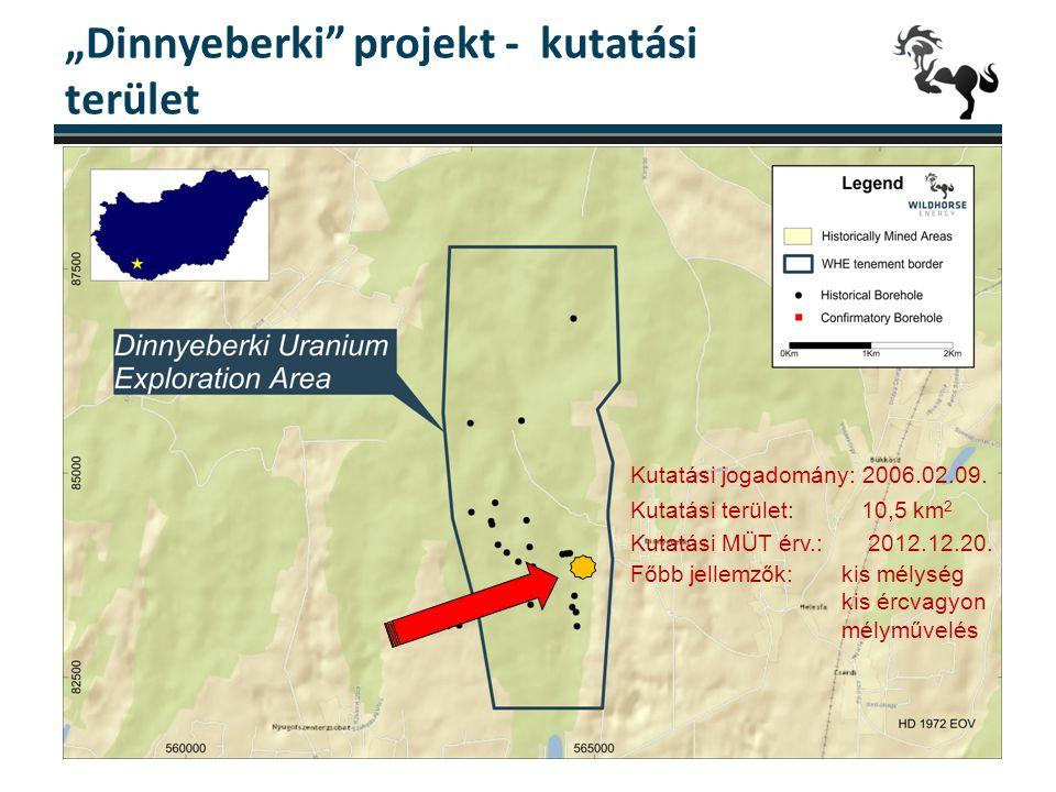 """""""Dinnyeberki"""" projekt - kutatási terület 7 Kutatási jogadomány: 2006.02.09. Kutatási terület: 10,5 km 2 Kutatási MÜT érv.: 2012.12.20. Főbb jellemzők:"""