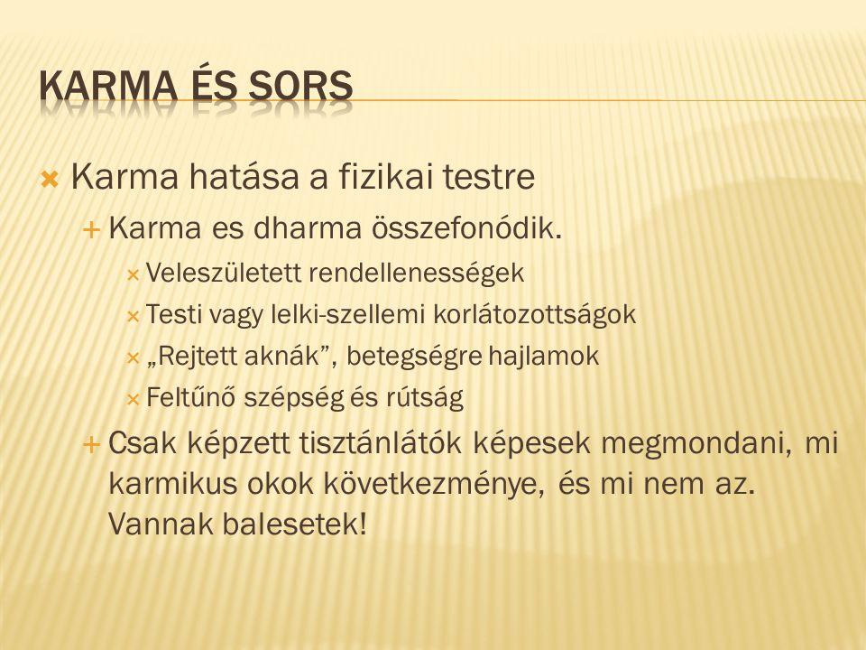 """ Karma hatása a fizikai testre  Karma es dharma összefonódik.  Veleszületett rendellenességek  Testi vagy lelki-szellemi korlátozottságok  """"Rejte"""