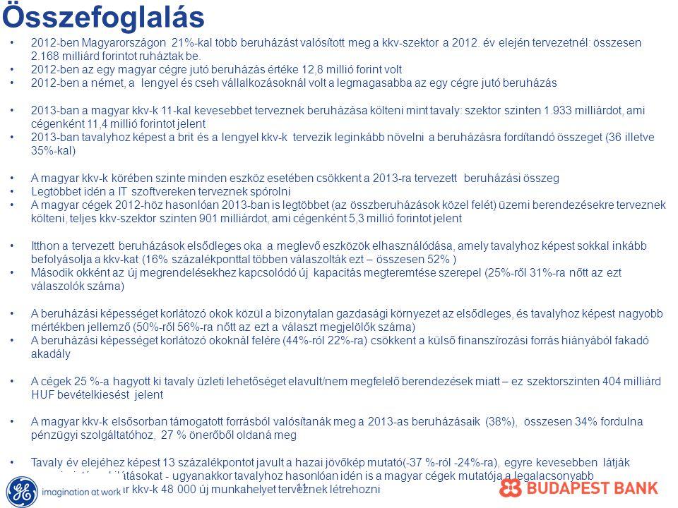 Összefoglalás •2012-ben Magyarországon 21%-kal több beruházást valósított meg a kkv-szektor a 2012.