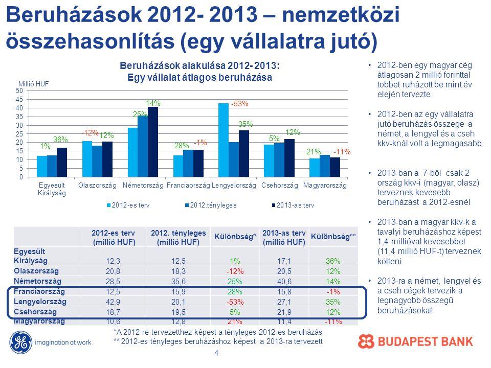A beruházás eszközönkénti megoszlása Magyarországon A beruházások eszközönkénti megoszlása a teljes kkv- szektorban A beruházások eszközönkénti megoszlása egy cégre jutó átlagos összeg szerint •Szinte minden eszköznél csökkent a beruházási szándék, legtöbbet idén a IT szoftvereken terveznek spórolni •2012-höz hasonlóan 2013-ban is legtöbben üzemi berendezésekre terveznek költeni, •Az üzemi berendezésekre fordítandó beruházás az összberuházások közel felét teszik ki •Idén 11%-kal kevesebbet költenének a cégek az üzemi berendezésekre mint 2012-ben Milliárd HUF 5