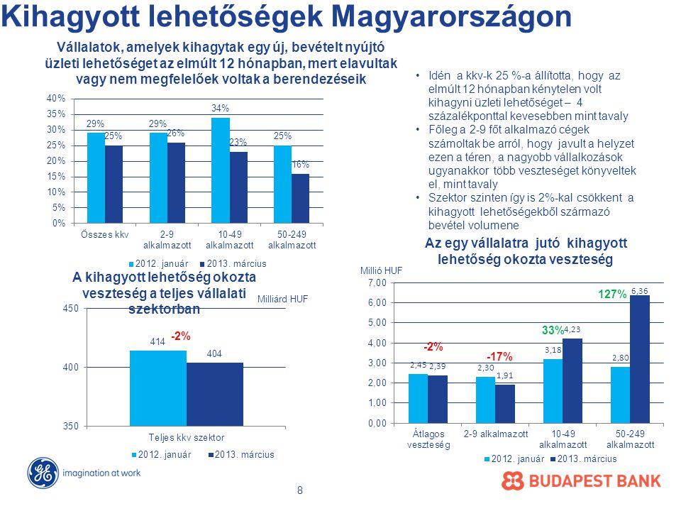 Kihagyott lehetőségek Magyarországon -2% Vállalatok, amelyek kihagytak egy új, bevételt nyújtó üzleti lehetőséget az elmúlt 12 hónapban, mert elavultak vagy nem megfelelőek voltak a berendezéseik Az egy vállalatra jutó kihagyott lehetőség okozta veszteség Millió HUF A kihagyott lehetőség okozta veszteség a teljes vállalati szektorban Milliárd HUF •Idén a kkv-k 25 %-a állította, hogy az elmúlt 12 hónapban kénytelen volt kihagyni üzleti lehetőséget – 4 százalékponttal kevesebben mint tavaly •Főleg a 2-9 főt alkalmazó cégek számoltak be arról, hogy javult a helyzet ezen a téren, a nagyobb vállalkozások ugyanakkor több veszteséget könyveltek el, mint tavaly •Szektor szinten így is 2%-kal csökkent a kihagyott lehetőségekből származó bevétel volumene 8