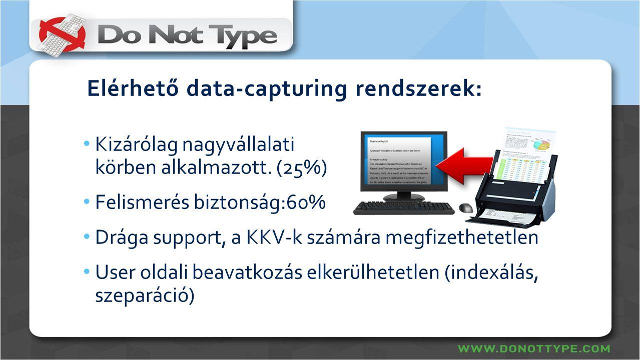 Elérhető data-capturing rendszerek: • Kizárólag nagyvállalati körben alkalmazott. (25%) • Felismerés biztonság:60% • Drága support, a KKV-k számára me