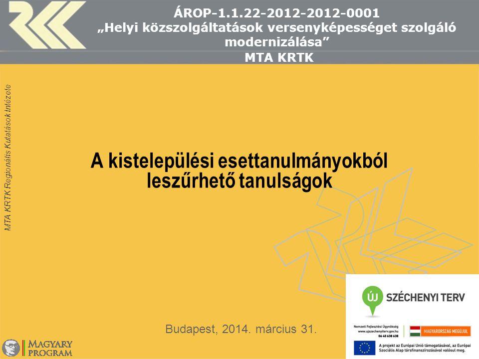 """MTA KRTK Regionális Kutatások Intézete ÁROP-1.1.22-2012-2012-0001 """"Helyi közszolgáltatások versenyképességet szolgáló modernizálása"""" MTA KRTK A kistel"""
