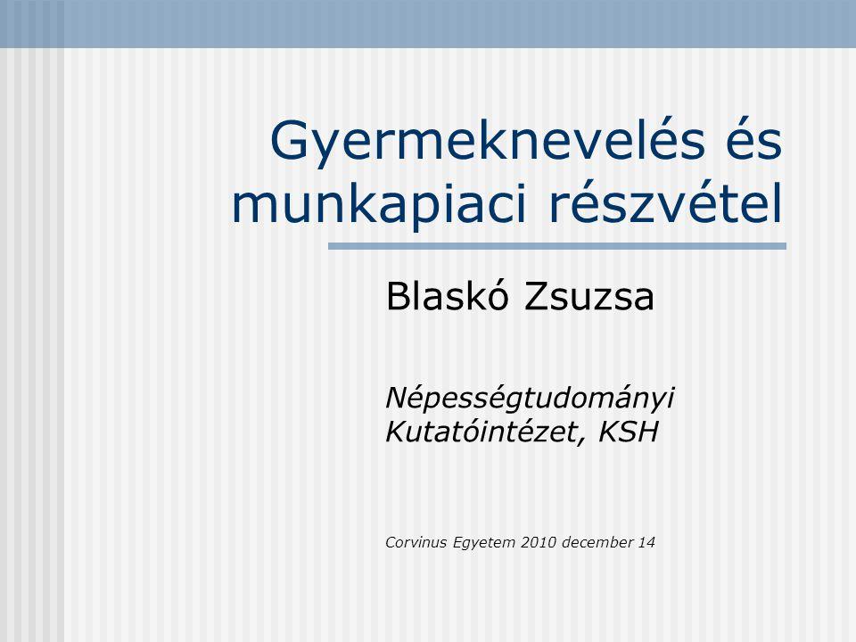 Gyermeknevelés és munkapiaci részvétel Blaskó Zsuzsa Népességtudományi Kutatóintézet, KSH Corvinus Egyetem 2010 december 14