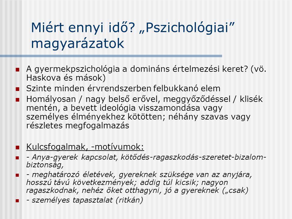 """Miért ennyi idő? """"Pszichológiai"""" magyarázatok  A gyermekpszichológia a domináns értelmezési keret? (vö. Haskova és mások)  Szinte minden érvrendszer"""
