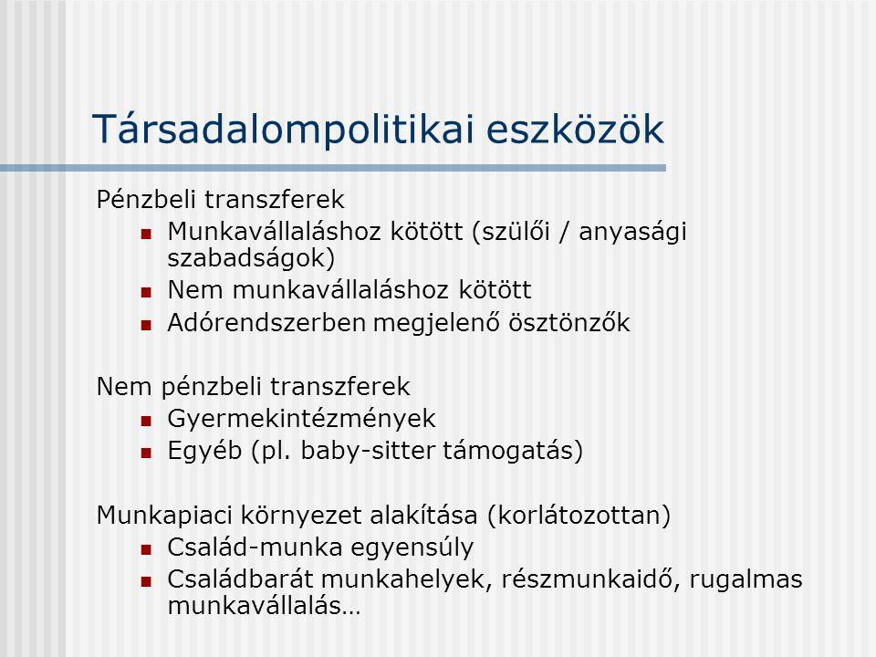 Társadalompolitikai eszközök Pénzbeli transzferek  Munkavállaláshoz kötött (szülői / anyasági szabadságok)  Nem munkavállaláshoz kötött  Adórendsze