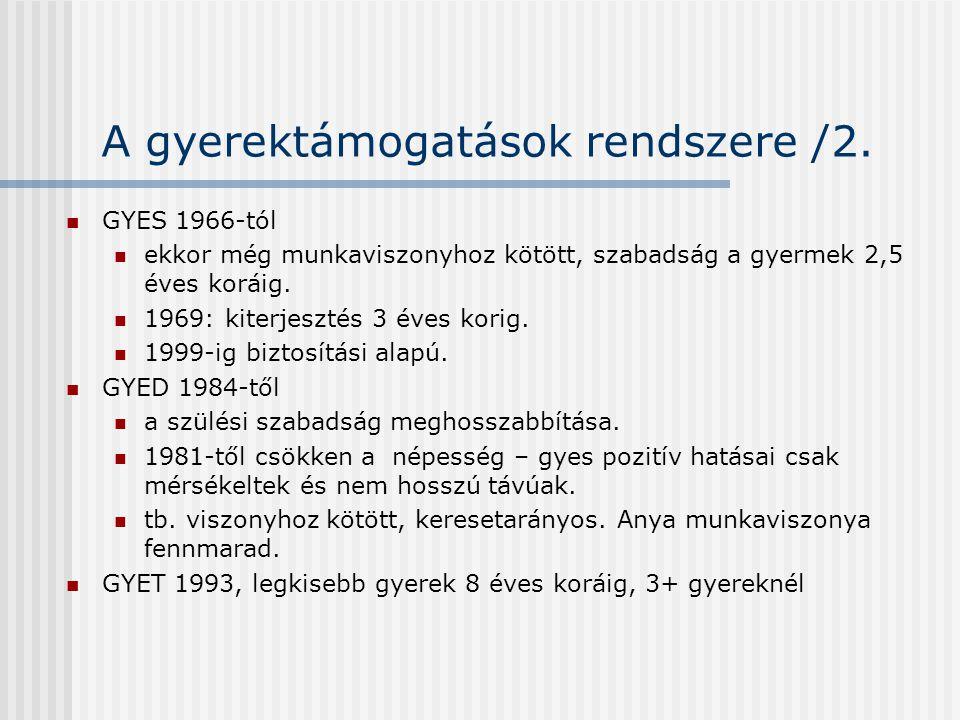 A gyerektámogatások rendszere /2.  GYES 1966-tól  ekkor még munkaviszonyhoz kötött, szabadság a gyermek 2,5 éves koráig.  1969: kiterjesztés 3 éves