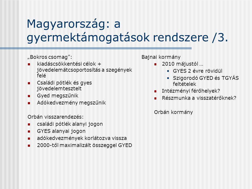 """Magyarország: a gyermektámogatások rendszere /3. """"Bokros csomag"""":  kiadáscsökkentési célok + jövedelemátcsoportosítás a szegények felé  Családi pótl"""
