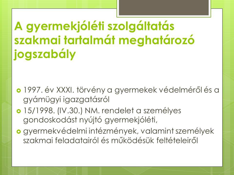 A gyermekjóléti szolgáltatás szakmai tartalmát meghatározó jogszabály  1997. év XXXI. törvény a gyermekek védelméről és a gyámügyi igazgatásról  15/