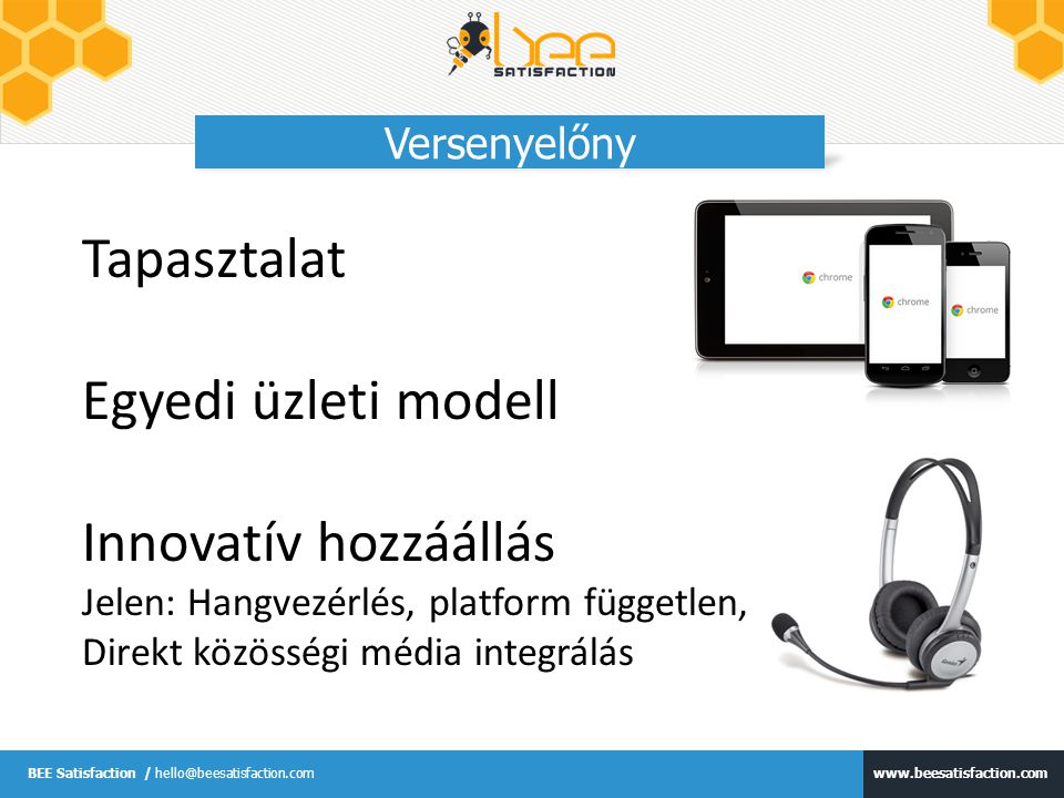 www.beesatisfaction.com BEE Satisfaction / hello@beesatisfaction.com Versenyelőny Tapasztalat Egyedi üzleti modell Innovatív hozzáállás Jelen: Hangvez