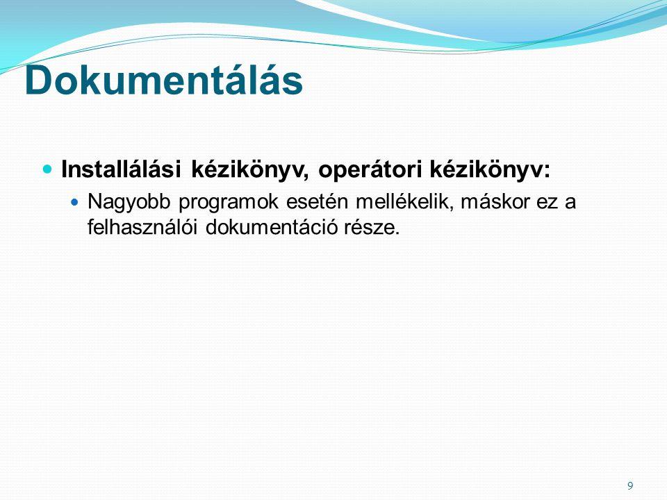 Dokumentálás  Installálási kézikönyv, operátori kézikönyv:  Nagyobb programok esetén mellékelik, máskor ez a felhasználói dokumentáció része. 9