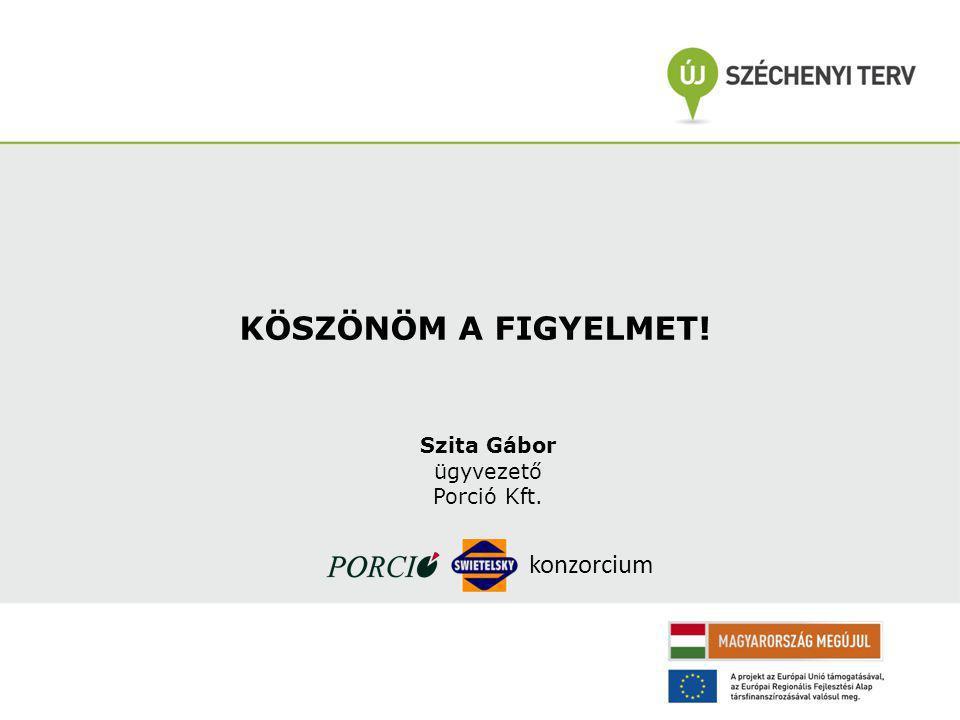 KÖSZÖNÖM A FIGYELMET! konzorcium Szita Gábor ügyvezető Porció Kft.