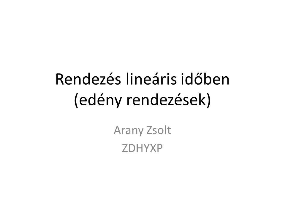 Rendezés lineáris időben (edény rendezések) Arany Zsolt ZDHYXP