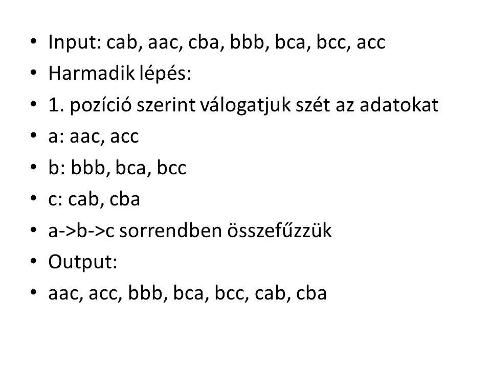 • Input: cab, aac, cba, bbb, bca, bcc, acc • Harmadik lépés: • 1.