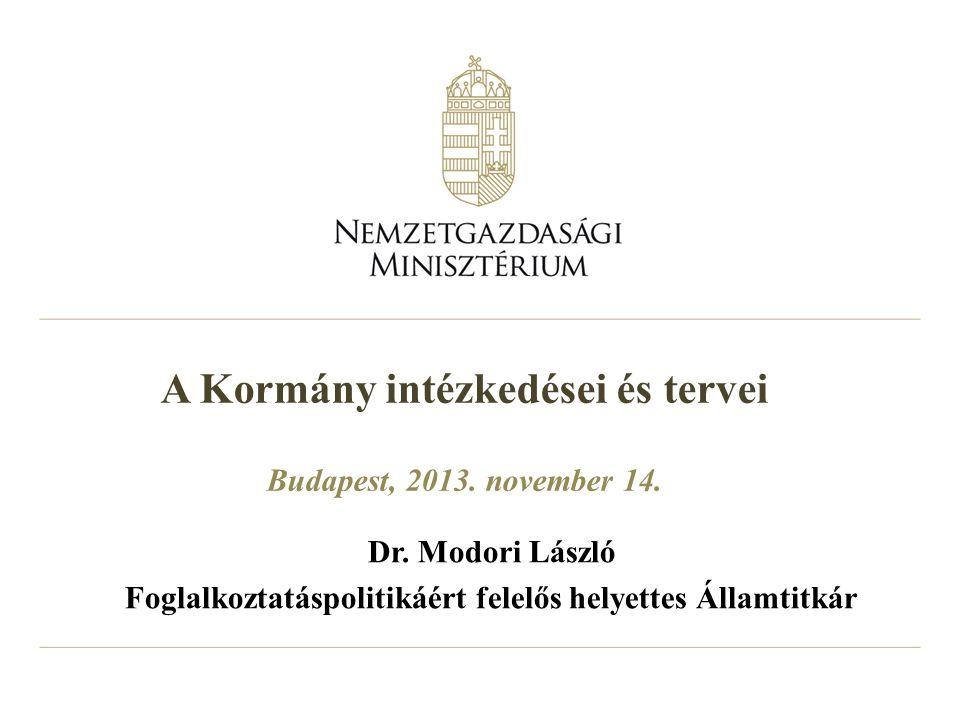 A Kormány intézkedései és tervei Budapest, 2013. november 14. Dr. Modori László Foglalkoztatáspolitikáért felelős helyettes Államtitkár