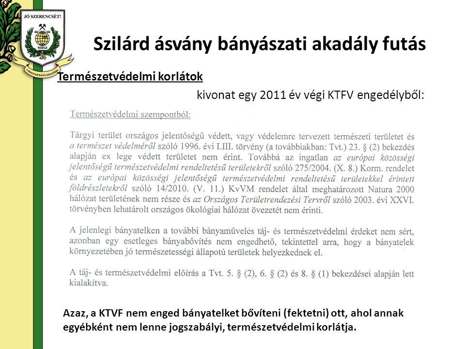 Természetvédelmi korlátok kivonat egy 2011 év végi KTFV engedélyből: Szilárd ásvány bányászati akadály futás Azaz, a KTVF nem enged bányatelket bővíteni (fektetni) ott, ahol annak egyébként nem lenne jogszabályi, természetvédelmi korlátja.
