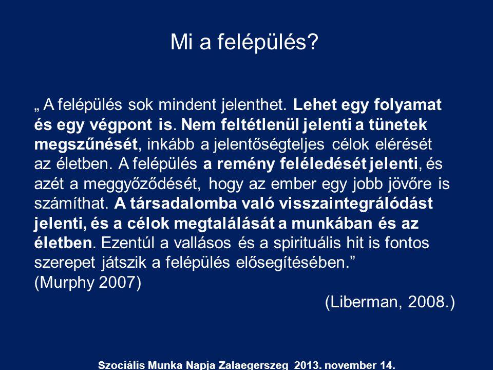 """Szociális Munka Napja Zalaegerszeg 2013. november 14. Mi a felépülés? """" A felépülés sok mindent jelenthet. Lehet egy folyamat és egy végpont is. Nem f"""