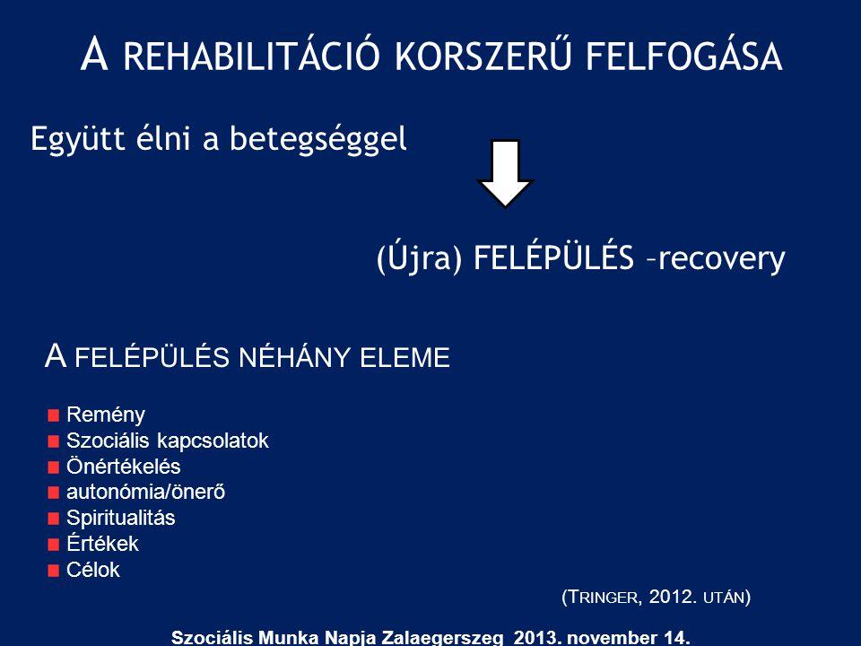 A REHABILITÁCIÓ KORSZERŰ FELFOGÁSA Együtt élni a betegséggel (Újra) FELÉPÜLÉS –recovery A FELÉPÜLÉS NÉHÁNY ELEME Remény Szociális kapcsolatok Önértéke
