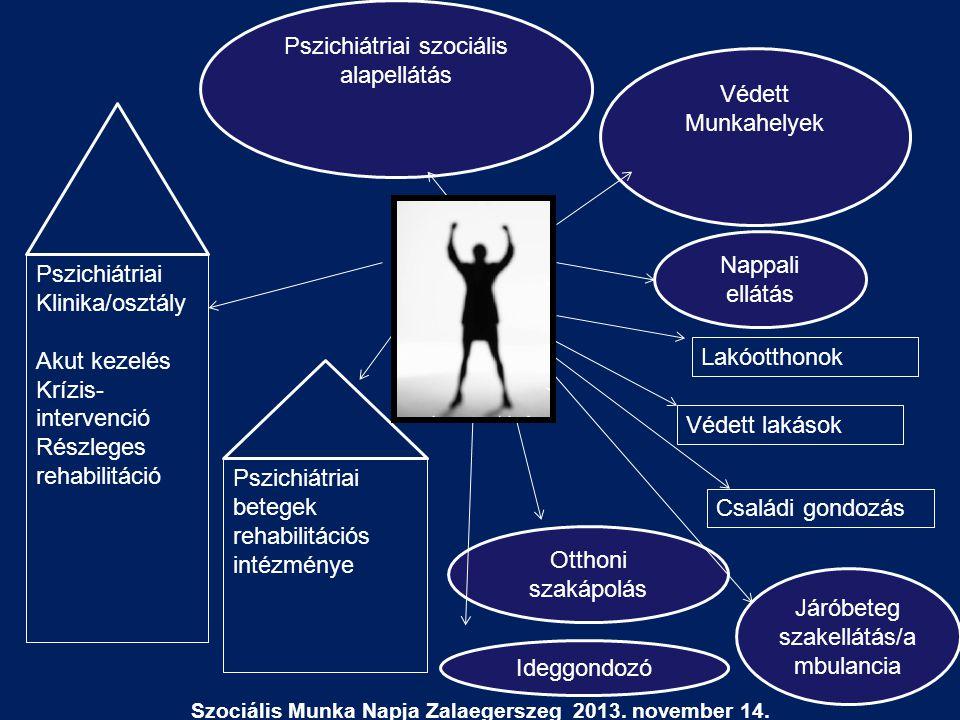 Védett Munkahelyek Pszichiátriai szociális alapellátás Nappali ellátás Otthoni szakápolás Járóbeteg szakellátás/a mbulancia Ideggondozó Szociális Munk